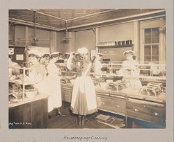 Education, Industrial: United States. New York. New York City. Public Schools, Adaptation to Special Needs: Process through which the Child Learns How to Earn a Living. New York City Public Schools. Examples of the Adaptation of Education to Special City Needs. Pre-Vocational: Training for General Usefulness: Girls' Technical High School, Manhattan.: Interest, self-respect, self-reliance and regard for the rights and privileges of others are characteristic of these classes:  Housekeeping - Cooking..   Social Museum Collection
