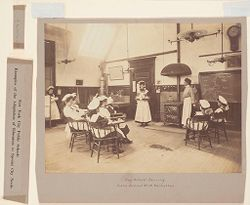 Education, Industrial: United States. New York. New York City. Public Schools, Adaptation to Special City Needs: New York City Public Schools. Examples of the Adaptation of Education to Special City Needs: Day School-Serving. Public School No. 119 Manhattan..   Social Museum Collection