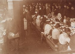 Races, Immigration: United States. New York. New York City. Immigrant Station: Regulation of Immigration at the Port of Entry. United States Immigrant Station, New York City. New York Detained Group: Women at Dinner.   Social Museum Collection
