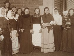 Races, Immigration: United States. New York. New York City. Immigrant Station: Regulation of Immigration at the Port of Entry. United States Immigrant Station, New York City: Group of Russian Girls.   Social Museum Collection