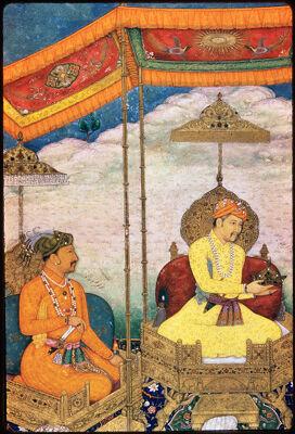 "<bdi class=""metadata-value"">Main Title: Akbar, Jahangir, and Shahjahan with their ministers (Folio from the Minto album, CBL 7A.19)</bdi><br><bdi class=""metadata-value"">Image Title: Detail view 20330018</bdi>"
