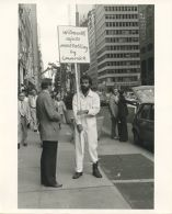 Photographs of Wilmarth picketing Andre Emmerich Gallery, 9/23/1978