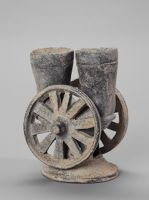 Chariot Vessel With Two Cups, Two Openwork Wheels, And Openwork, Flaring Base