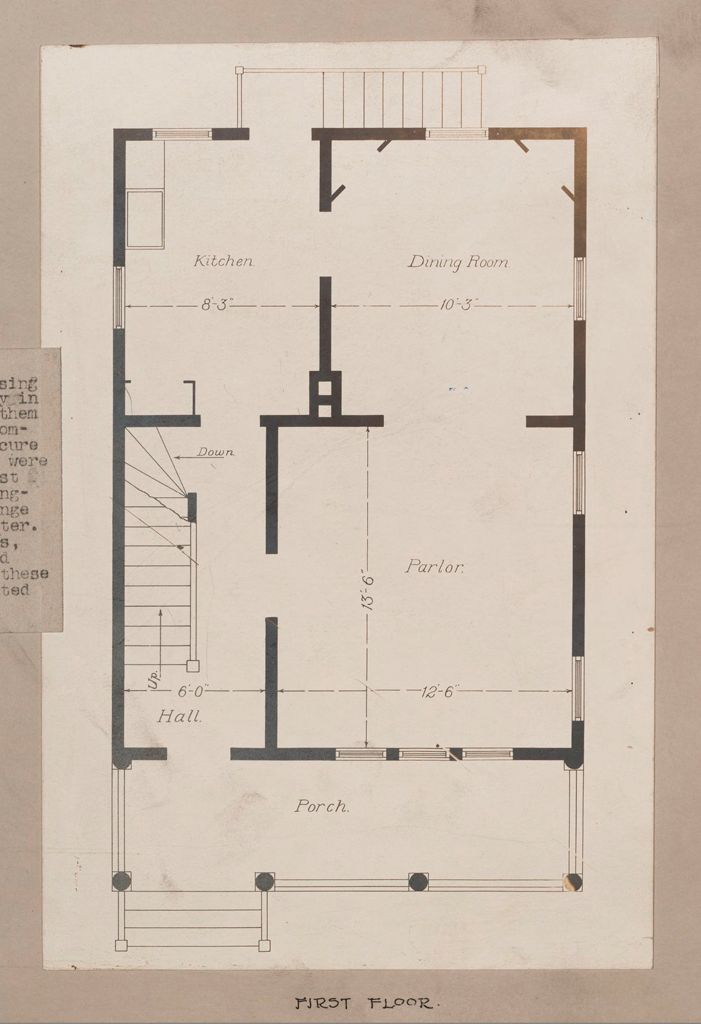 Industrial Problems, Welfare Work: United States. New York. Coldspring. J.b. & J.m. Cornell Company: Industrial Betterment In The United States. Housing Of Working People By Employers. J.b. & J.m. Cornell  Company, Coldspring, New York. House For Employees, Plan A: First Floor