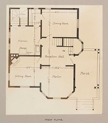 Industrial Problems, Welfare Work: United States. New York. Niagara Falls. Niagara Development Company: Industrial Betterment in the United States. Housing of Working People by Employers: Niagara Development Company, Niagara Falls, New York. House for Employees. Plan T.: First Floor..   Social Museum Collection