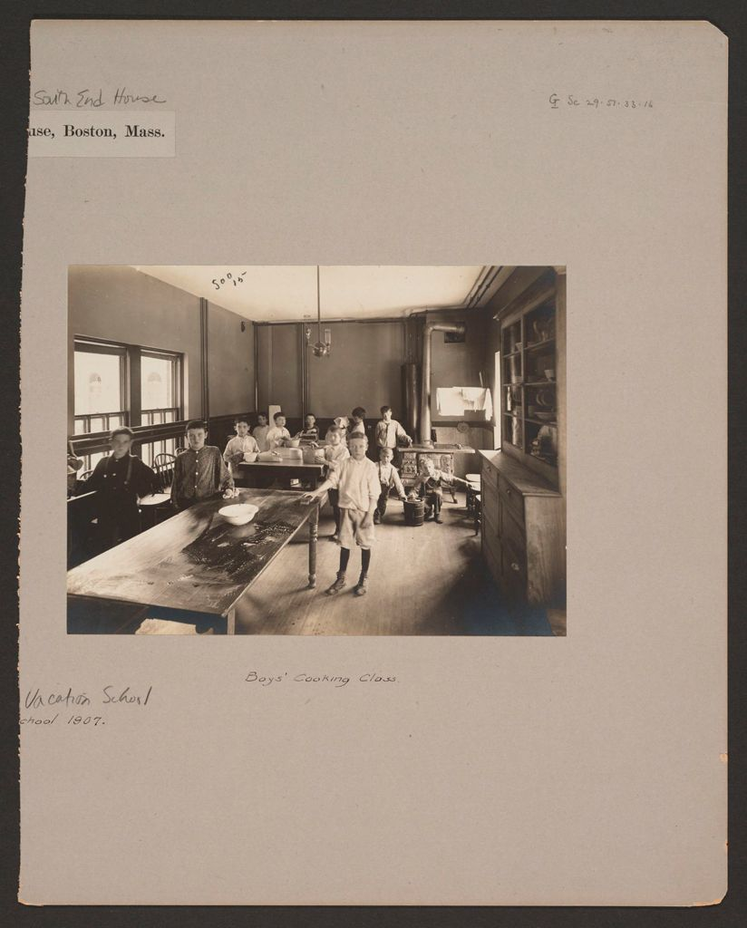 Social Settlements: United States. Massachusetts. Boston. South End House: South End House, Boston, Mass.: Vacation School 1907.: Boys' Cooking Class.