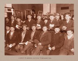 Races, Immigration: United States. New York. New York City. Immigrant Station: Regulation of Immigration at the Port of Entry. United States Immigrant Station, New York City: A Group of Greeks, Waiting To Be Admitted..   Social Museum Collection