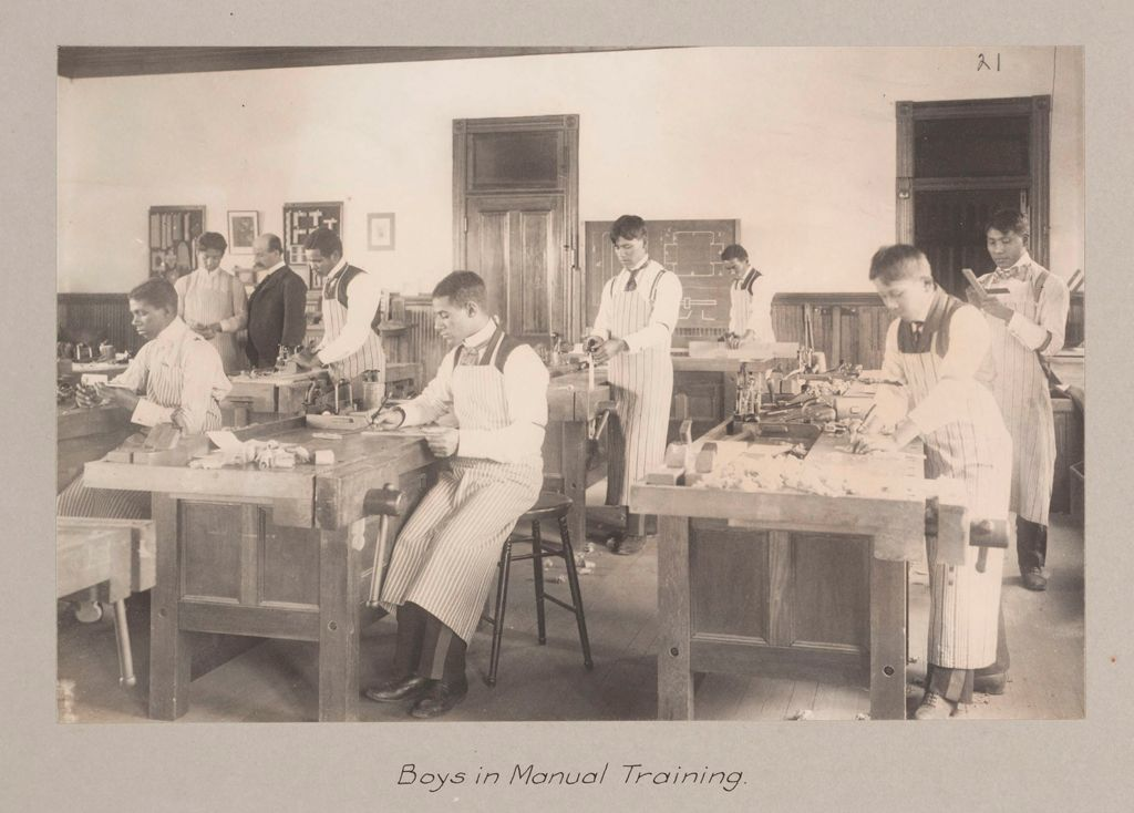 Races, Negroes: United States. Virginia. Hampton. Hampton Normal And Industrial School: Agencies Promoting The Assimilation Of The Negro. Training For Commercial And Industrial Employment. Hampton Normal And Agricultural Institute, Hampton, Va.: Boys In Manual Training.
