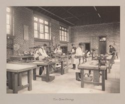 Races, Negroes: United States. Virginia. Hampton. Hampton Normal and Industrial School: Agencies Promoting Assimilation of the Negro. Training for Commercial and Industrial Employment. Hampton Normal and Agricultural Institute, Hampton, Va.: Tin Smithing..   Social Museum Collection