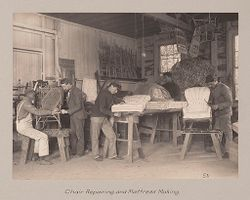 Races, Negroes: United States. Virginia. Hampton. Hampton Normal and Industrial School: Agencies Promoting Assimilation of the Negro. Training for Commercial and Industrial Employment. Hampton Normal and Agricultural Institute, Hampton, Va.: Chair Repairing and Mattress Making..   Social Museum Collection