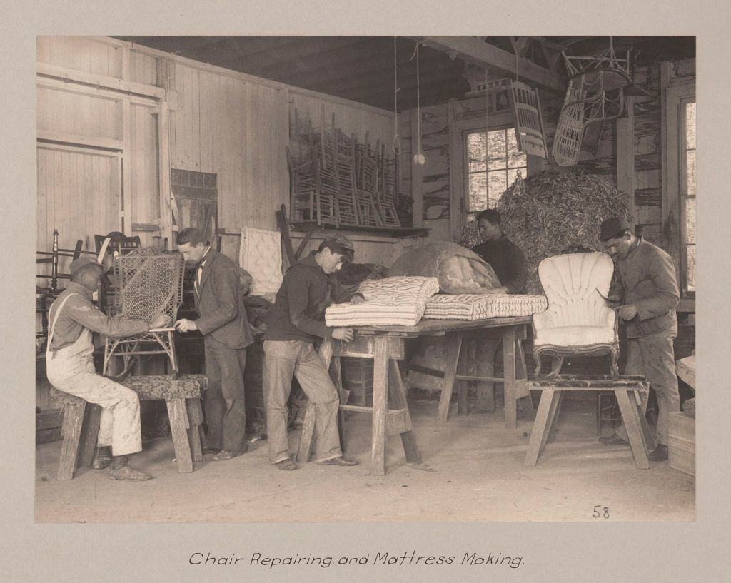Races, Negroes: United States. Virginia. Hampton. Hampton Normal And Industrial School: Agencies Promoting Assimilation Of The Negro. Training For Commercial And Industrial Employment. Hampton Normal And Agricultural Institute, Hampton, Va.: Chair Repairing And Mattress Making.