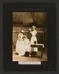 Defectives, Epileptics: United States. Massachusetts. Palmer. State Hospital for Epileptics: Third year nurse. Gastric lavage under the supervisor..   Social Museum Collection