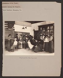 Races, Negroes: United States. Virginia. Hampton. Hampton Normal and Industrial School: Agencies Promoting Assimilation of the Negro. Development of Social Standards Among the Negroes. Hampton Normal and Agricultural Institute, Hampton, Va.: First aid to the Injured..   Social Museum Collection