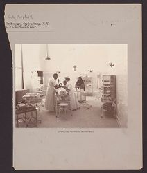 Charity, Hospitals: United States. New York. Ogdensburg. City Hospital and Orphanage: Grey Nuns of the Cross: City Hospital and Orphanage, Ogdensburg, N.Y. (Under the direction of the Grey Nuns of the Cross): Operating Room in New Department..   Social Museum Collection
