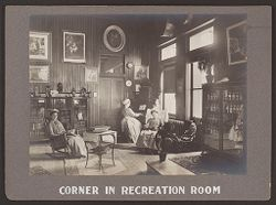 Industrial Problems, Welfare Work: United States. Pennsylvania. Pittsburgh. H.J. Heinz Company: Corner in Recreation Room..   Social Museum Collection