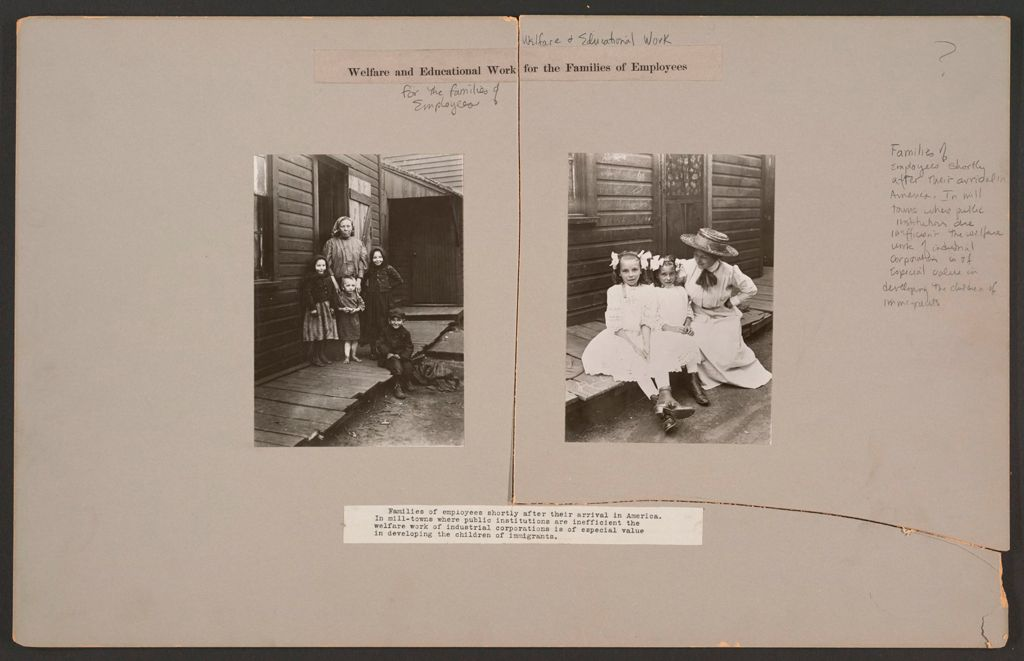 Industrial Problems, Welfare Work: United States: Welfare And Educational Work For The Families Of Employees: Families Of Employees Shortly After Their Arrival In America.  In Mill-Towns Where Public Institutions Are Inefficient The Welfare Work Of Industrial Corporations Is Of Especial Value In Developing The Children Of Immigrants.