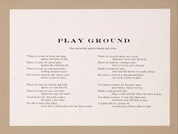 Recreation, Parks and Playgrounds: United States. Educational Propaganda: Public Parks and Playgrounds: Example of useful educational propaganda for playgrounds prepared by a commercial agency. Source of these two statements: American Playground Device Company, Anderson, Indiana..   Social Museum Collection