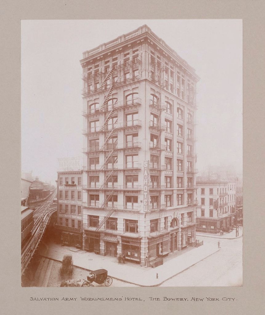 Religious Agencies, Salvation Army: United States. New York. New York City. Workingmen's Hotels: The Salvation Army: Salvation Army Workingmens' Hotel, The Bowery, New York City.
