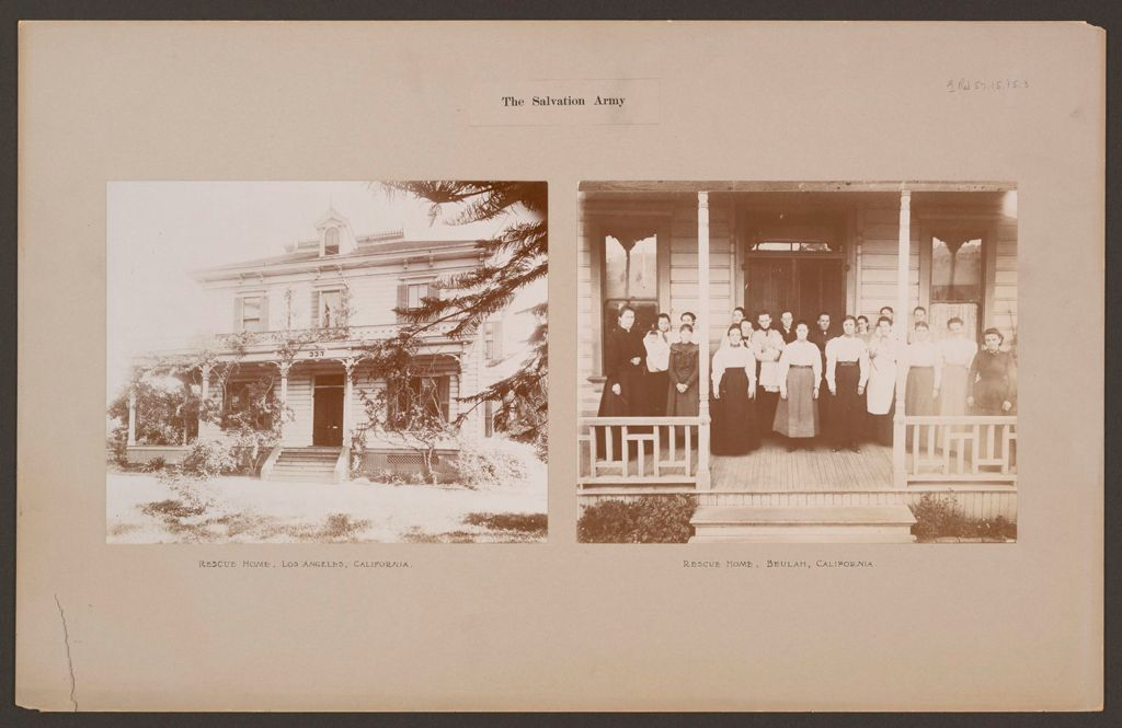 Religious Agencies, Salvation Army: United States. California. Beulah And Los Angeles. Rescue Homes: The Salvation Army.