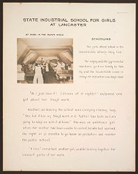 Crime, Children, Reform Schools: United States. Massachusetts. Lancaster. State Industrial School for Girls: State Industrial School for Girls at Lancaster: At Work in the Sloyd Room. Schooling..   Social Museum Collection