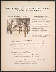 Crime, Children, Reform Schools: United States. Massachusetts. Lancaster. State Industrial School for Girls: State Industrial School for Girls at Lancaster: Superintendent's House. Administration. Numbers. Cost.   Social Museum Collection