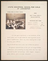 Crime, Children, Reform Schools: United States. Massachusetts. Lancaster. State Industrial School for Girls: State Industrial School for Girls at Lancaster: School Home in a Family  House. Age. Only Those Under 17 Can be Admitted..   Social Museum Collection