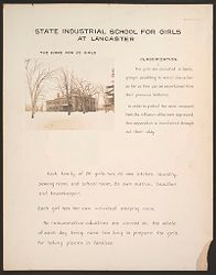 Crime, Children, Reform Schools: United States. Massachusetts. Lancaster. State Industrial School for Girls: State Industrial School for Girls at Lancaster: The Home for 25 Girls. Classification..   Social Museum Collection