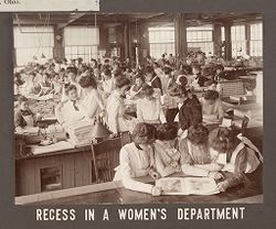 Industrial Problems, Welfare Work: United States. Ohio. Dayton. National Cash Register Company: Welfare Institutions of the National Cash Register Company, Dayton, Ohio: Conveniences for Women Employees: Recess in a Women's Department..   Social Museum Collection