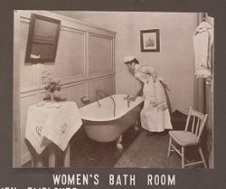 Industrial Problems, Welfare Work: United States. Ohio. Dayton. National Cash Register Company: Welfare Institutions of the National Cash Register Company, Dayton, Ohio: Conveniences for Women Employees: Women's Bath Room..   Social Museum Collection