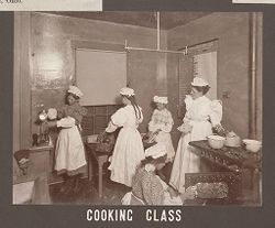 Industrial Problems, Welfare Work: United States. Ohio. Dayton. National Cash Register Company: Welfare Institutions of the National Cash Register Company, Dayton, Ohio: Advantages for Employes' Children.: Cooking Class.   Social Museum Collection
