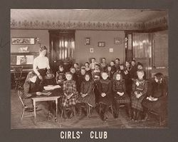 Industrial Problems, Welfare Work: United States. Ohio. Dayton. National Cash Register Company: Welfare Institutions of the National Cash Register Company, Dayton, Ohio: Advantages for Employes' Children.: Girls' Club.   Social Museum Collection
