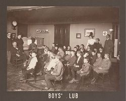 Industrial Problems, Welfare Work: United States. Ohio. Dayton. National Cash Register Company: Welfare Institutions of the National Cash Register Company, Dayton, Ohio: Advantages for Employes' Children.: Boys' Club.   Social Museum Collection