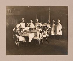 Industrial Problems, Welfare Work: United States. Massachusetts. North Plymouth. Plymouth Cordage Company: Provision of Educational Facilities for Employees. Plymouth Cordage Company, North Plymouth, Mass.: Cooking Class for Girls; The Teacher of This Class Has General Charge of The General Dining Hall Maintained By the Company. Plymouth Cordage Co., North Plymouth, Mass..   Social Museum Collection