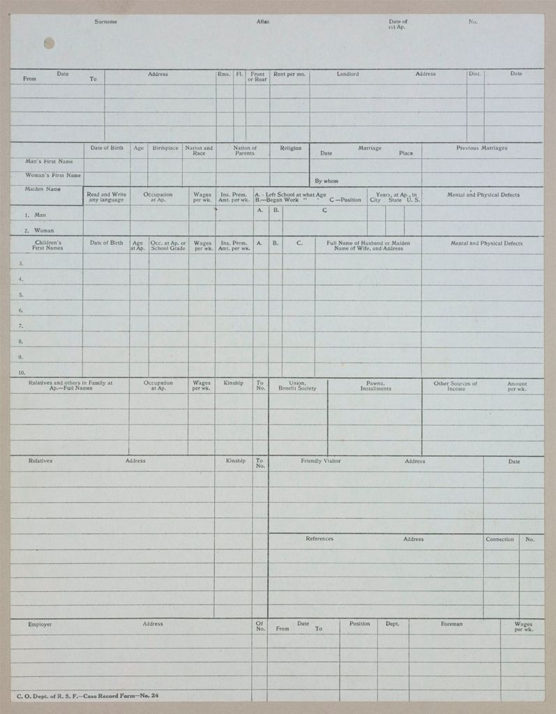 Charity, Organizations: United States. New York. New York City. Russell Sage Foundation: Schedules Used In Investigation: Forms Used By The Charity Organization Department Of The Russell Sage Foundation