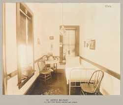 Crime, Women: United States. New York. Bedford. State Reformatory for Women: State Reformatory for Women, Bedford, N.Y.: An inmate's bed-room: all but end rooms have but one window.   Social Museum Collection