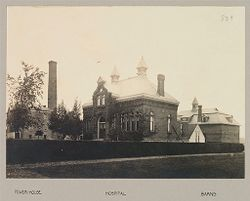 Defectives, Blind: United States. New York. Batavia. State School for the Blind: State School for the Blind, Batavia, N.Y.: Power-house; Hospital; Barns.   Social Museum Collection