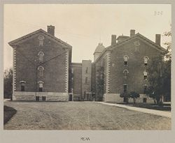 Defectives, Blind: United States. New York. Batavia. State School for the Blind: State School for the Blind, Batavia, N.Y.: Main Buildings: Rear.   Social Museum Collection