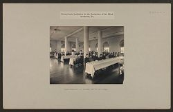 Defectives, Blind: United States. Pennsylvania. Overbrook. Pennsylvania Institution for the Instruction of the Blind: Pennsylvania Institution for the Instruction of the Blind, Overbrook, Pa.: A pupils dining room; one horseshoe table for each cottage..   Social Museum Collection