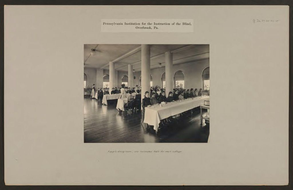 Defectives, Blind: United States. Pennsylvania. Overbrook. Pennsylvania Institution For The Instruction Of The Blind: Pennsylvania Institution For The Instruction Of The Blind, Overbrook, Pa.: A Pupils Dining Room; One Horseshoe Table For Each Cottage.