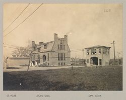 Crime, Women: Unites States. New York. Hudson. House of Refuge for Women: State House of Refuge for Women, Hudson, N.Y.: Ice-house; Store-house; Gate-house.   Social Museum Collection