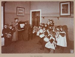 Education, General: Germany. Berlin. Volkskindergarten: Froebelhaus: Froebelhaus (Public Kindergarten): Berlin: The Orchestra..   Social Museum Collection