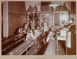 Education, General: Germany. Berlin. Volkskindergarten: Froebelhaus: Froebelhaus (Public Kindergarten): Berlin: Luncheon..   Social Museum Collection