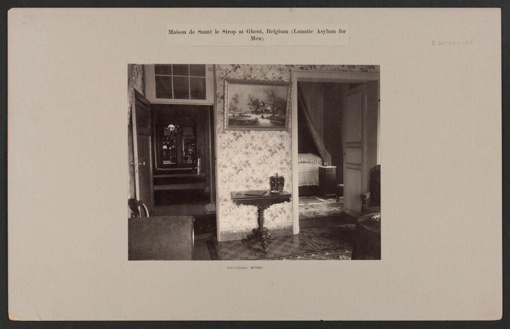 Defectives, Insane: Belgium. Ghent. Maison De Santé Le Strop: Maison De Santé Le Strop At Ghent, Belgium (Lunatic Asylum For Men): Individual Rooms