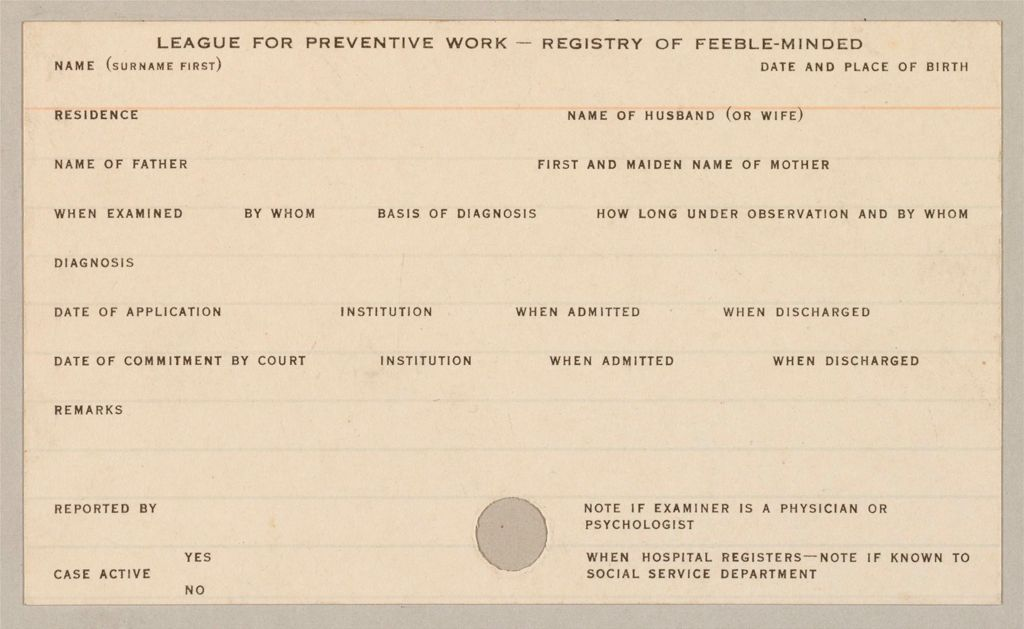 Defectives, Feeble-Minded: United States. Massachusetts. Boston. Forms Used By League For Preventive Work: Schedules Used In Investigation: Forms Used By The League For Preventive Work, Boston, Mass.: League For Preventive Work - Registry Of Feeble-Minded
