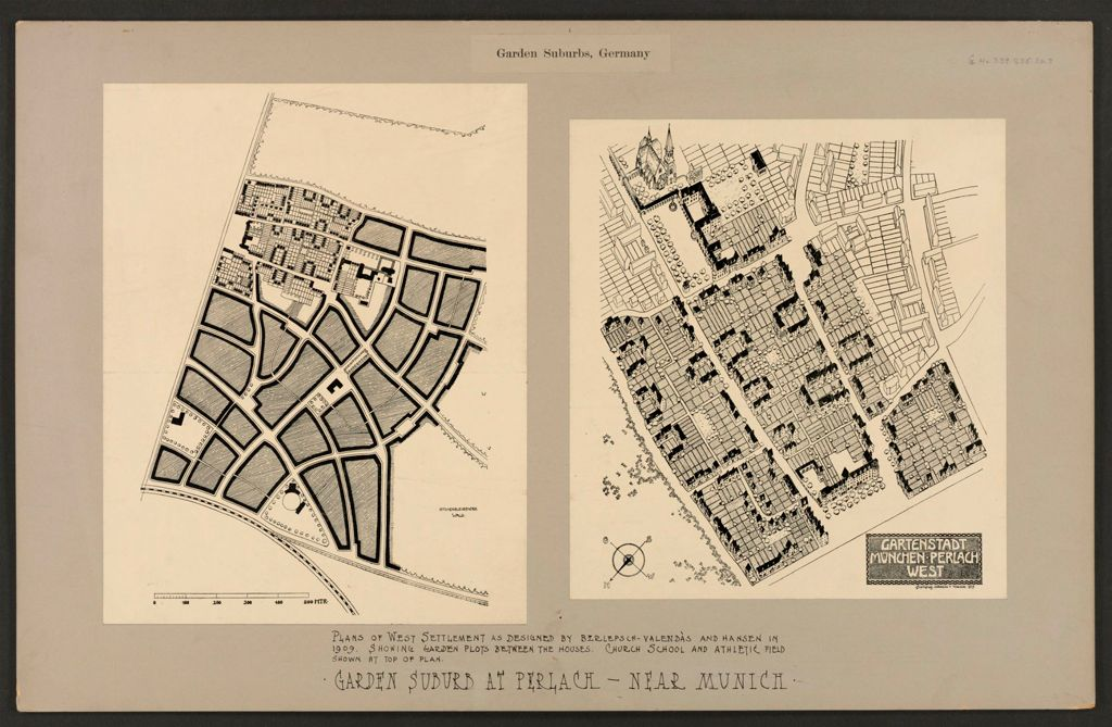 Housing, Improved: Germany. Munich-Perlach. Garden Suburb: Garden Suburbs, Germany: Garden Suburb At Perlach - Near Munich: Plans Of West Settlement As Designed By Berlepsch-Valendàs And Hansen In 1909. Showing Garden Plots Between The Houses.  Church School And Athletic Field Shown At Top Of Plan.