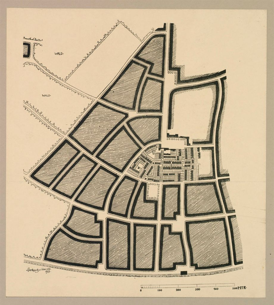 Housing, Improved: Germany. Munich-Perlach. Garden Suburb: Garden Suburbs, Germany: Garden Suburb At Perlach Near Munich: Plans Of Central Settlement Of 8 Ha Or 20 Acres As Designed By Berlepsch-Valendàs And Hansen In 1909. Showing Garden Plots Between Houses.  Market Places And Public Buildings Shown At Top Of Settlement.