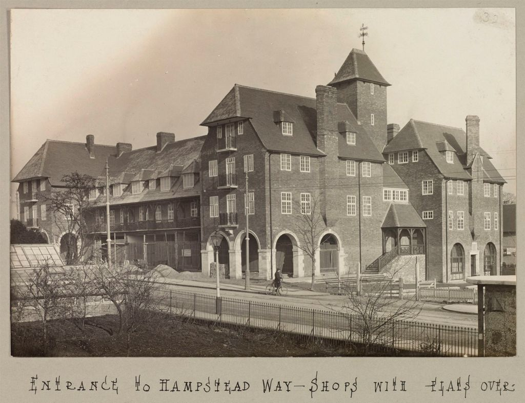 Housing, Improved: Great Britain, England. Hampstead. Garden Suburb (Copartnership And Private) Plans Of Estate And Cottages: Co-Partnership Housing: England: Hampstead Garden Suburb. 1910: Entrance To Hampstead Way--Shops With Flats Over-