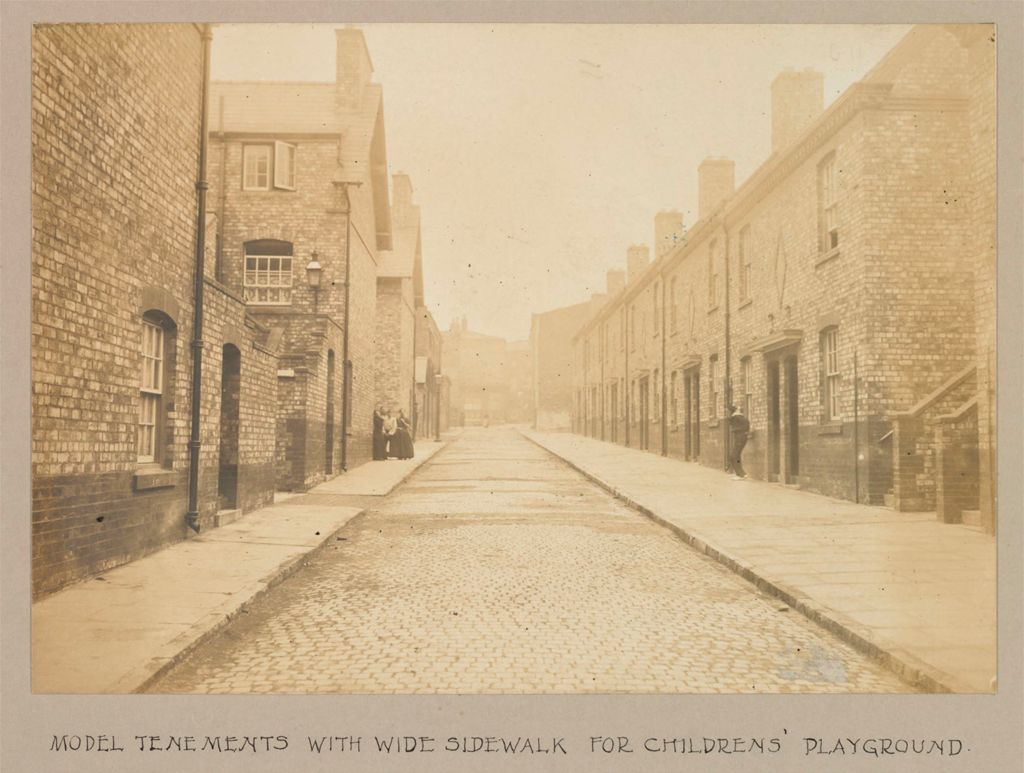 Housing, Improved: Great Britain, England. Liverpool. Municipal Tenements: Social Conditions In Liverpool, England, 1903: Model Tenements With Wide Sidewalk For Childrens' Playground.