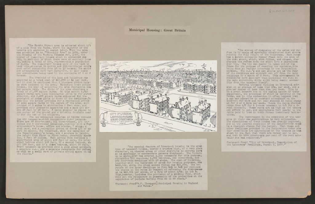 Housing, Improved: Great Britain, England. Liverpool. Housing Conditions And Improvements: Municipal Housing: Great Britain