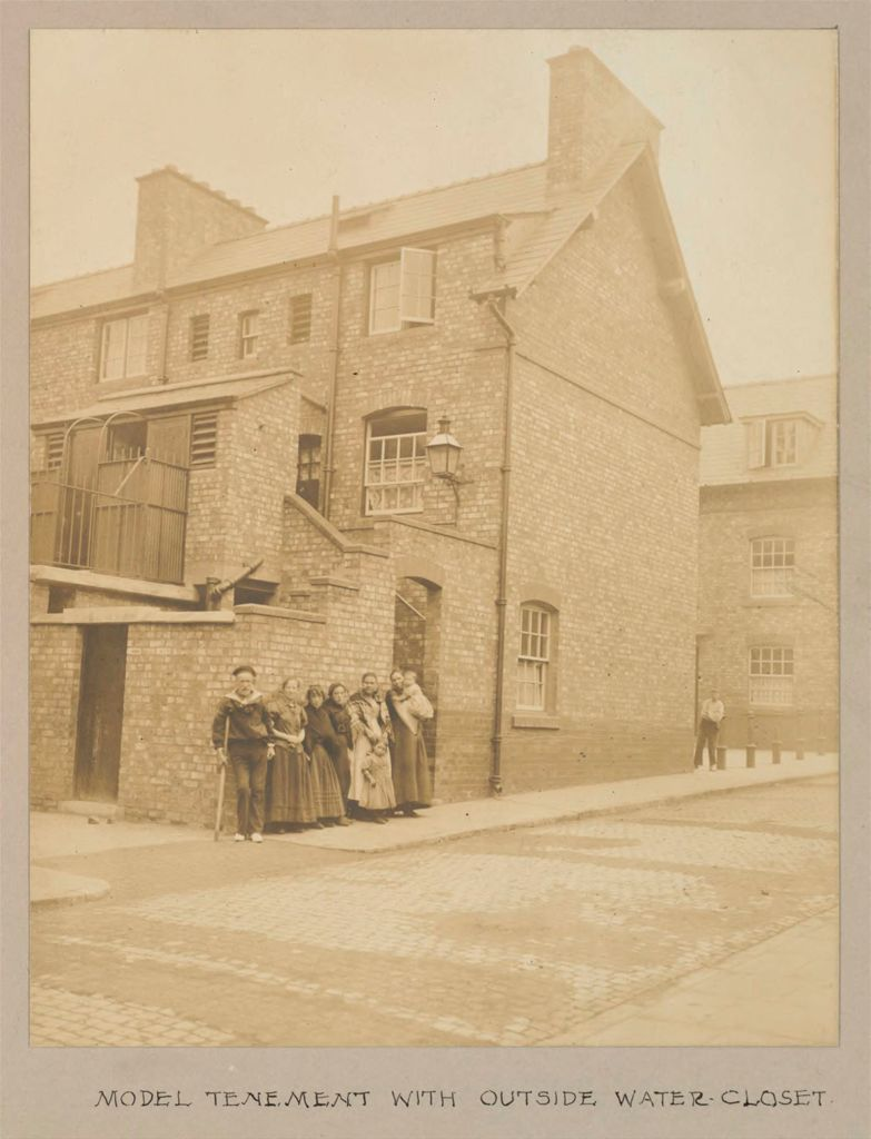 Housing, Improved: Great Britain, England. Liverpool. Municipal Tenements: Social Conditions In Liverpool, England, 1903: Model Tenement With Outside Water-Closet.